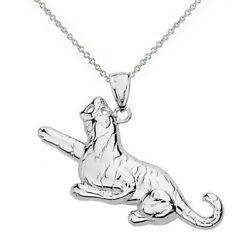 14k White Gold Laying Roaring Tiger Big Cat Pendant Necklace