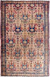Genuine Hand Knotted Authentic Antique Area Rug. 4and0392x 6and0391