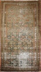 Genuine Hand Knotted Authentic Distressed Antique Gallery Rug. 5'2x 9'7