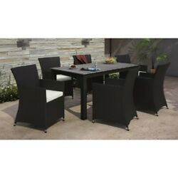 Modway Junction 7 Piece Outdoor Dining Set In Brown And White