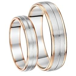 His And Hers 5and6mm Palladium And 9ct Rose Gold Wedding Ring