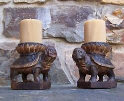 Korean Pr Of Carved Wood Tortoise Stands Choson Dynasty 17th-18th Century Candle
