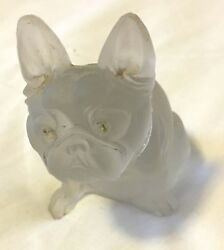 Boston terrier figurine little early 20th c camphor glass 1.5x3x1.5 inches