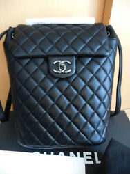 Coco CHANEL CC Black Quilted Lambskin Leather Silver Chain Backpack Bag Rucksack