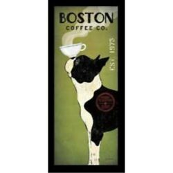 FRAMED Boston Terrier Coffee Co Panel Ryan Fowler Vintage Ads Dogs Pets Print