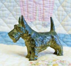 Vintage Scottie Dog Figurine ~ Detailed Cast Metal Scottish Terrier Japan Mint