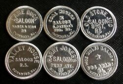 Pennsylvania Saloon Tokens Lame Duck, Old Stone Jug And More Lot Of 6