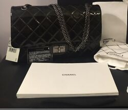 CHANEL 2.55 REISSUE FLAP BAG NWTPATENT LEATHER JUMBODARK GREEN.