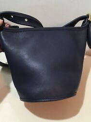 Vintage Coach Maggie Small  BLUE Leather Bucket Cross Body Bag