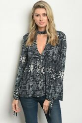 Women Navy Peasant Boho Babydoll Top Tunic Blouse V Neck Relaxed Fit Casual Cute