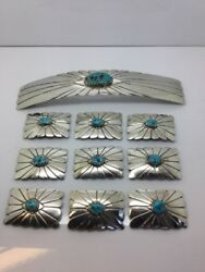 Robert Peters Navajo Sterling Silver And Turquoise Stones Buckle And Concho Set