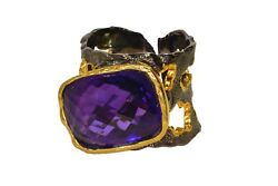 Yellow Gold And Silver Ring With 21.75 Ct Amethyst Adjustable Size For You