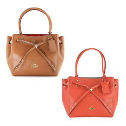 Nwt Coach Turnlock Tie Small Refined Pebble Leather Bucket Tote 35838 395