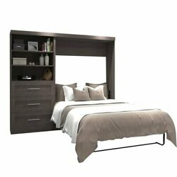Atlin Designs 95 Full Wall Bed With Storage In Bark Gray