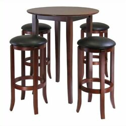 Pemberly Row 5 Pieces Round High/pub Table Set In Antique Walnut