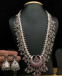 Indian Silver Oxidised Tone Zircon Statement Necklace Set Ethnic Tribal Jewelry