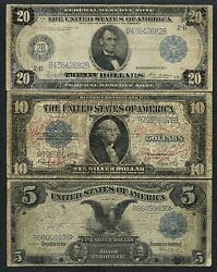 3 Different 5 10 20 -- Raised Notes -- Very Rare Wlm3634