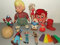 Antique And Vintage Toy Toys Lot - Disney, Fp, Bozo, Howdy Doody, Barney, Smurfs