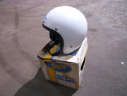Vintage Nos Buco Size Large Poly White Open Face 5 Snap Racing Helmet 1825-3