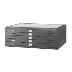 Scranton And Co 5 Drawer Metal Flat Files Cabinet For 36 X 48 Documents In Black