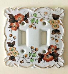 Vintage Porcelain Double Light Switch Plate Cover~Kelvin~Japan~Floral Home Decor