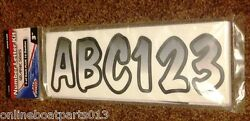 3 Inch White/black Shaded Boat Letters And Numbersstickersnumber Kit 52290