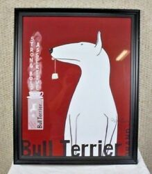 Bull Terrier Tea by Ken Bailey Lithography Dog FULL SIZE FRAMED