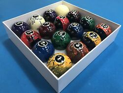 New Black Marble Swirl Pool Table Billiard Balls Set 2 1 4quot; Reg Size amp; weight