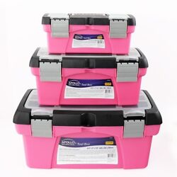 Tool Box Set Plastic Lockable In Pink Finish With Built In Handle 3-components