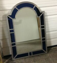Frontgate Silver Blue Framed Wall Bathroom Vanity Accent Mirror 32x48