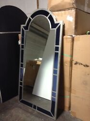 Frontgate Silver Blue Framed Wall Bathroom Vanity Accent Mirror 38x76
