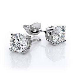 Classic Style 5.00 CT Earrings Set GIA Certified 18k Gold Round Cut Diamond
