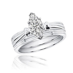 GIA Certified Marquise Cut Solitaire Diamond Bridal Ring Set 1.00 CT 14k Gold
