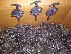Vintage Western Pewter Hat Pin With Pick, Rope, Hat, Boots And Flower, Lot Of 325