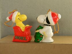 VINTAGE PEANUTS SNOOPY amp; WOODSTOCK TWO 2 1 2quot; CERAMIC ORNAMENTS 1981 JAPAN