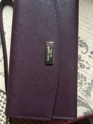 Kate-Spade-Plum Laurel-way-Leather-iphone-6-6s-7-Wristlet-ID-Card-Phone-Case