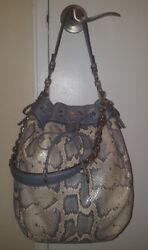 Coach Madison Embossed Python Leather Marielle Drawstring Tote Hand Bag 17019