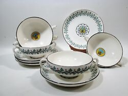 Arts And Crafts Wedgwood China Al6865 Vine Berries 5 Cream Soup Cups Saucers A6865