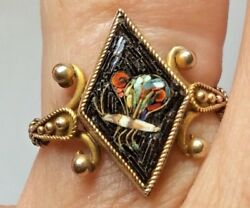 Micro Mosaic BUTTERFLY Sterling Silver Ring Italian Grand Tour Souvenir