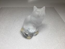 Lalique France Frosted Crystal Heggie Chat Cat Kitten Figurine Paperweight