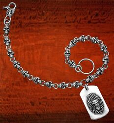 Oxidized Sterling Silver Skull Link Wallet Chain W/skull Trigger Snap Clasp-wc4