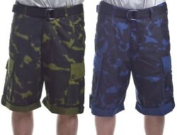 Rocawear Mens 5 Boro Camo Ripstop W/belt Cargo Shorts Choose Color And Size