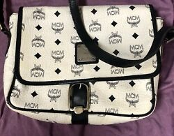 "MCM Shoulder Bag VINTAGE White W Navy Logo Design MCM Munchen A5812 ""As Is"""