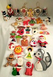 Lot of 30 Vintage Christmas Felt & Sequin Ornaments Handmade 1970's-80's