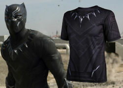 Marvel Movie Black Panther T'Challa cosplay T-shirt Short-sleeved tops costume