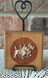 Very Old MetalWooden PowderMirror Compact with Scottie (Scottish Terrier) Dogs