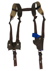 New Brown Leather Vertical Shoulder Holster W/ Speed-loader Pouch 2 Revolvers