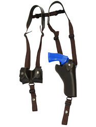 New Brown Leather Vertical Shoulder Holster W/ Speed-loader Pouch 4 Revolvers