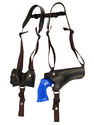 New Brown Leather Horizontal Shoulder Holster W/ Speed-loader Pouch 4 Revolvers