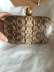 Authentic Alexander Mcqueen Clutch python skull small
